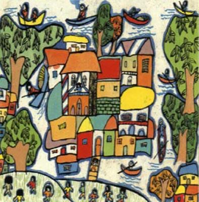 水乡小镇,1998年获日本第28届国际儿童画大赛金牌图片